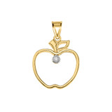 Diamond Outline Apple Pendant Necklace in Gold (Yellow/Rose/White)