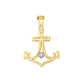 Diamond Outline Anchor Pendant Necklace in  Gold (Yellow/Rose/White)