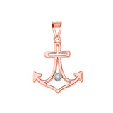 Diamond Outline Anchor Pendant Necklace in Rose Gold