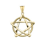 Pentagram Intertwined in Rope Pendant Necklace in Gold (Yellow/Rose/White)