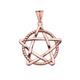 Pentagram Intertwined in Rope Pendant Necklace in Rose Gold