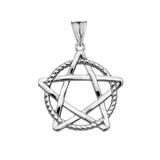 Pentagram Intertwined in Rope Pendant Necklace in Sterling Silver