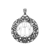 """CZ Filigree Round Allah Pendant Necklace ( 1.5"""" )in Oxidized Sterling Silver"""