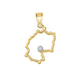 Diamond Outline Germany Map Pendant Necklace in Gold (Yellow/Rose/White)