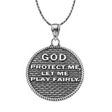 """""""God Protect Me"""" Martial Arts Karate Pendant Necklace in Oxidized Sterling Silver"""
