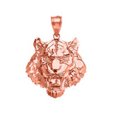 Roaring Tiger Pendant Necklace in Rose Gold (Small)