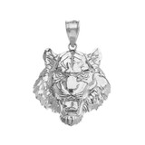 Roaring Tiger Pendant Necklace in White Gold (Large)