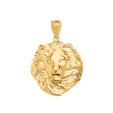 Lion King Head Pendant Necklace in Gold (Small) 1.05 in. (Yellow/Rose/White)