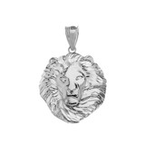 Lion King Head Pendant Necklace in White Gold (Large)