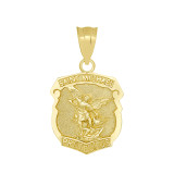 Saint Michael Protect Us Shield Pendant Necklace in Gold (Yellow/Rose/White)