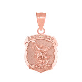 Saint Michael Protect Us Shield Pendant Necklace in Rose Gold