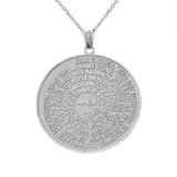 The Lords Prayer Medallion Pendant Necklace in White Gold (Small - Medium - Large)