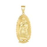 Our Lady Of Guadalupe Pendant Necklace in Gold (Medium) 1.89 in. (Yellow/Rose/White)