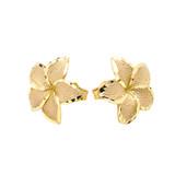 Plumeria Flowers Stud Earrings in Yellow Gold