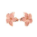 Plumeria Flowers Stud Earrings in 10K Rose Gold