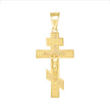 Jesus Crucifix Russian Orthodox Cross Pendant Necklace in Gold (Yellow/Rose/White)