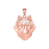 Wolf Head Pendant Necklace in Rose Gold