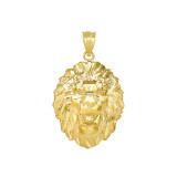 Roaring Lion King Head Pendant Necklace in Gold (Yellow/Rose/White)