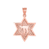 Star of David with Chai Pendant Necklace in Rose Gold