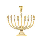 Diamond Hanukkah Menorah Pendant Necklace in Yellow/Rose/White Gold