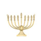 Diamond Hanukkah Menorah Necklace in 14K Yellow Gold