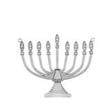 Diamond Hanukkah Menorah Necklace in 14K White Gold