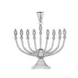 Diamond Hanukkah Menorah Pendant Necklace Sterling Silver