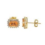 Yellow Gold Emerald Cut Citrine and Diamond Halo Earrings