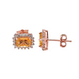 Rose Gold Emerald Cut Citrine and Diamond Halo Earrings