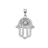 Chic Opal Hamsa Pendant Necklace in Sterling Silver