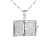 3D Moveable Koran Pendant Necklace in White Gold