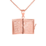 3D Moveable Koran Pendant Necklace in Rose Gold