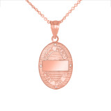 Divine Mercy Oval Medallion with Diamonds Pendant Necklace in Rose Gold