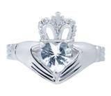 Silver Claddagh Ring with Clear Cubic Zirconia Birthstone.