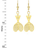 Tennis Racquet & Ball Leverback Earrings in Yellow Gold