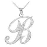 """14K White Gold Letter Script """"A-Z"""" Diamond Initial Pendant Necklace"""