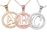 """Solid Gold """"A-Z"""" Initial in Rope Circle Pendant Necklace (Yellow/White/Rose)"""