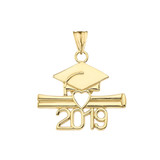 Class of 2019 Graduation Pendant Necklace in  Gold (Yellow/Rose/White)