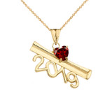 2019 Graduation Diploma Personalized Birthstone CZ Pendant Necklace In Yellow Gold
