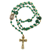 Sterling Silver Green Onyx Gold Plated Rosary Beaded Necklace 20 Inch
