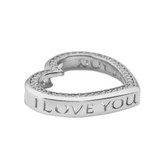 """Valentine's Heart """"I LOVE YOU"""" Necklace in Sterling Silver (0.75"""")"""