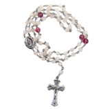 Sterling Silver Pink Quartz and Pink Tourmaline Rosary Beaded Necklace 20 Inch