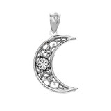 Crescent Pendant Necklace in Sterling Silver
