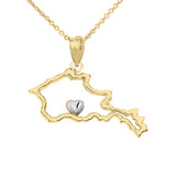 Outline Armenia Map Pendant Necklace in Gold (Yellow/ Rose/White)