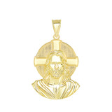 Jesus Solid Halo Small Pendant Necklace in Gold (Yellow/ Rose/White) (1.20 in)