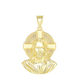 Jesus Solid Halo Large Pendant Necklace in Gold (Yellow/ Rose/White) (1.50 in)