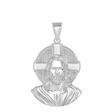 Jesus Solid Halo Large Pendant Necklace in Sterling Silver (1.50 in)