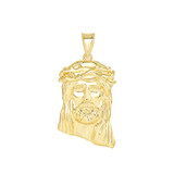 Jesus Christ  Head Small Pendant Necklace in Gold (Yellow/ Rose/White) (1.20 in)
