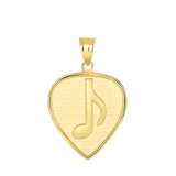 Guitar Pick with Engraved Music Note Pendant Necklace in Gold (Yellow/ Rose/White)