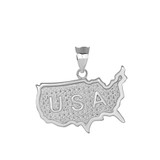Engraved USA Map Pendant Necklace in Sterling Silver